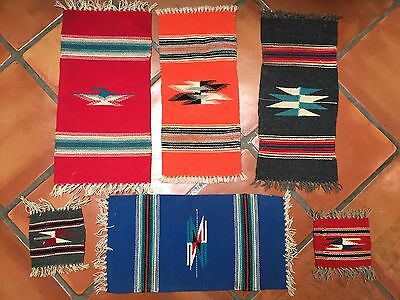 """Chimayo collection of 6 -100% Wool Textiles 10 X 22"""" -..5.5"""" x 8"""" Weaving"""