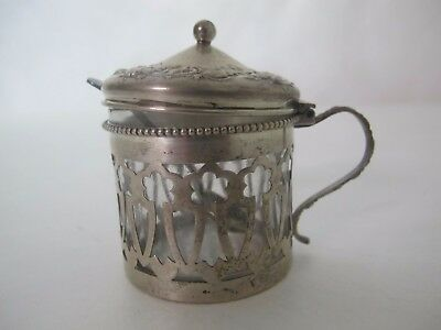 Fantastic Sterling Repousse Mustard With Spoon
