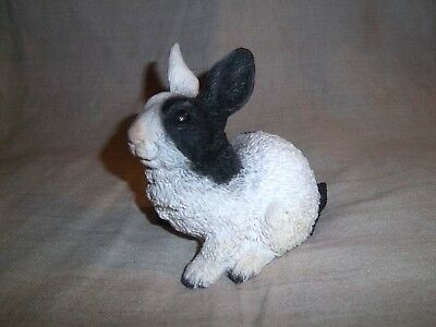 Heavy Black & White Resin Bunny Rabbit Sculpture Figurine Made In Italy - Signed