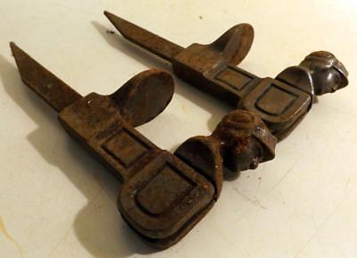 2 Unusual Antique Cast Iron Shutter Dogs w Drop-Down Roman Soldier Heads c1900