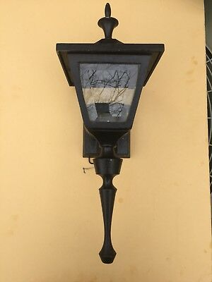 Vintage Sternberg Cast Aluminum Porch Patio Light Fixture Beveled Glass Sconce