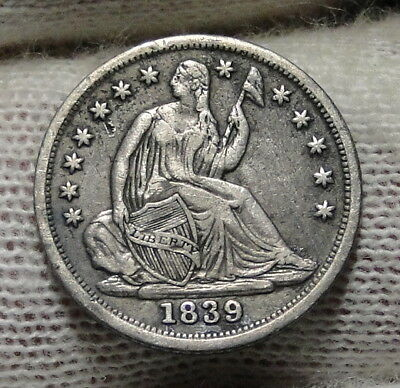 1839 Seated Liberty Half Dime H10C No Drapery - Nice Coin, Free Shipping (6714)