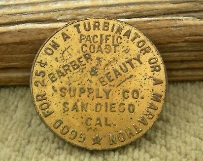 old SAN DIEGO CALIFORNIA RARE TURBINATOR HAIRDRYER PICTORIAL BARBER SUPPLY TOKEN