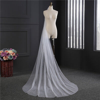KQ_ 300cm Long Single Layer Purity Bride Wedding White Bridal Veil with Comb Nov