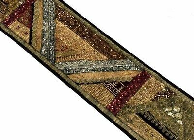 """60"""" Antique Decor Textile Beaded Sequin Sari Tapestry Wall Hanging Throw Runner"""