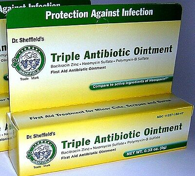 X3 Dr. Sheffields Triple Antibiotic Ointment First Aid Ointment New .33 Oz Tubes