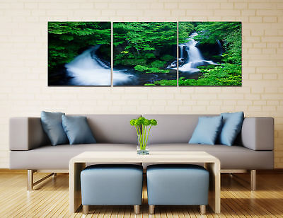 """16x16""""x3pc Nordic Home Decor Spring Forest Waterfall Modern Art Prints On Canvas"""