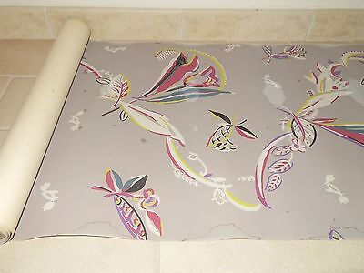 ancien papier peint pochoir rouleau ART DECO tapisserie old roll wallpaper 1900