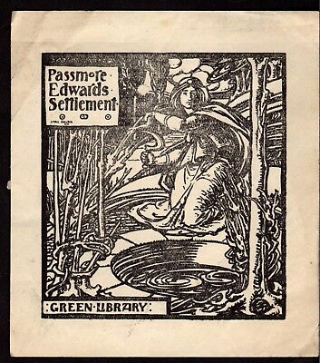 BOOK PLATE/Ex Libris ~ CYRIL GOLDIE ~ PASSMORE EDWARDS (Mary Ward) SETTLEMENT #1