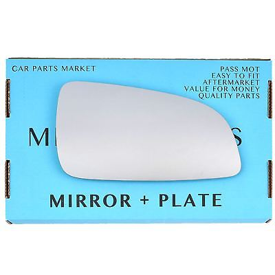 Right Driver side Flat Wing mirror glass for Vauxhall Astra H 2004-2008 + plate