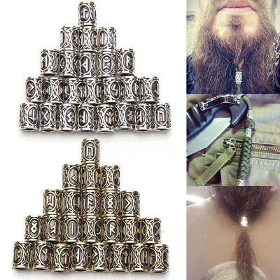 24 Style Norse Viking Rune Beads Jewelry Making Fit Hair Beard Bracelet Necklace
