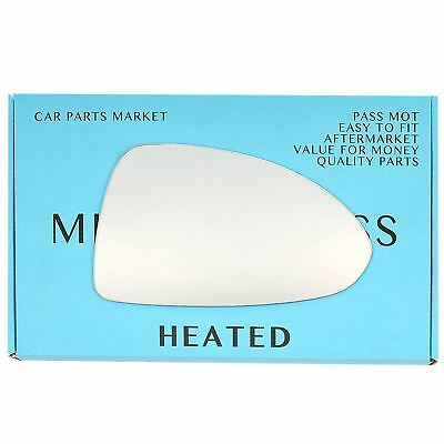 Right Driver side Flat Wing door mirror glass for Vauxhall Corsa D 06-14 heated