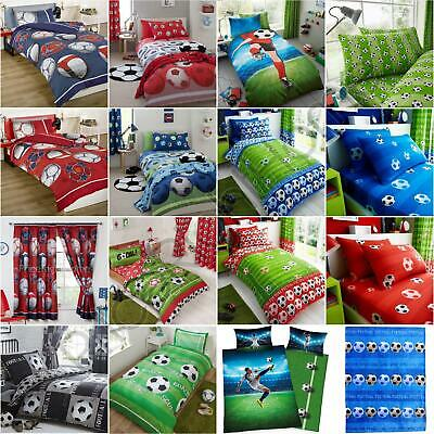 Football Bedroom Kids Boys - Single & Double Duvet Cover Sets, Sheets, Curtains