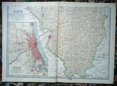 Antique Map ~ ILLINOIS Southern Part USA UNITED STATES AMERICA ~ c1902