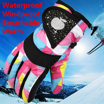 Children Kids Winter Warm Waterproof Windproof Snow Snowboard Ski Sports Gloves