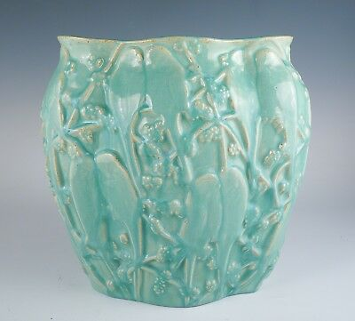 Vintage Early 20c Stangl Muncie Art Pottery Love Birds Parakeet Pillow Vase