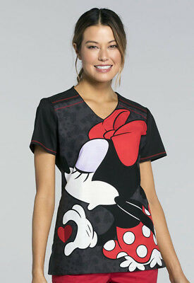 Minnie Mouse Cherokee Scrubs Tooniforms Disney V Neck Top TF660 MKLV