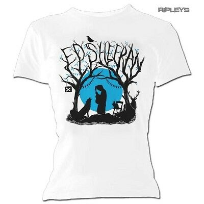 Official Skinny T Shirt White ED SHEERAN Divide 'Woodland Gig' White All Sizes
