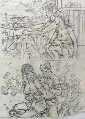 EARL NOREM Original Art Men's Magazine GORGEOUS GALS! Finished Pencil