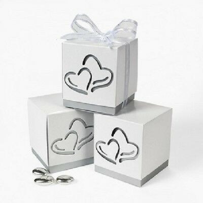 Lot of 12 Love Two Hearts Wedding White Paper Favor Boxes Shower