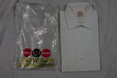 Vtg NOS 50s 60s BVD Sanforized White Dress Shirt Size 15 100% Cotton Deadstock