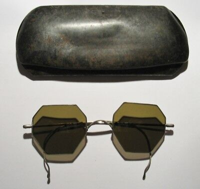 Antique Vintage Old Willson Sunglasses Green 8 Sided with Glasses Case