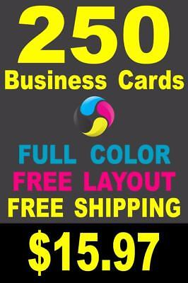 250 Full Color Gloss Custom Business Cards - Plus FREE Shipping $15.97