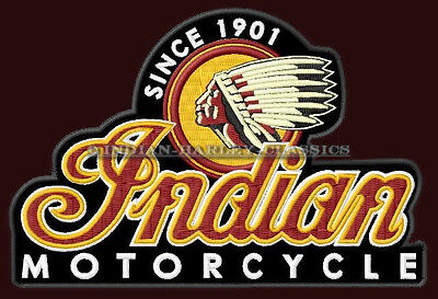 "INDIAN MOTORCYCLE EMBROIDERED PATCH ~5"" x 3-3/8"" CHIEF SCOUT ROADMASTER V2 BIKER"