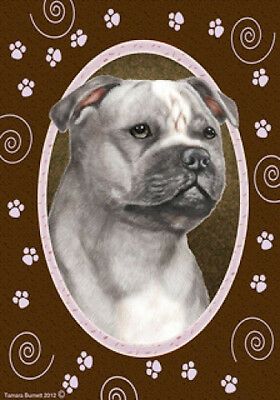 Large Indoor/Outdoor Paws Flag - Grey Staffordshire Bull Terrier 17248