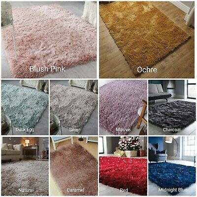 Thick Silky Shiny Shimmer Soft Shaggy Rug White Silver Red Pink Natural Carpet