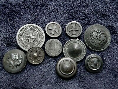10 Vintage Estate Black Buttons ~ Some Goodyear Hard Rubber Mixed Sizes, Styles
