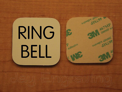 Engraved 3x3 RING BELL Plastic Tag Sign Plate | Beige Doorbell Plate Plaque