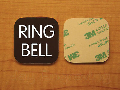 Engraved 2x2 Brown RING BELL Plastic Tag Sign Plate | Doorbell Plate Door Plaque