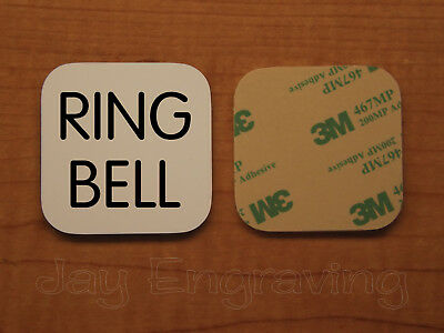 Engraved 2x2 White RING BELL Plastic Tag Sign Plate | Doorbell Plate Door Plaque