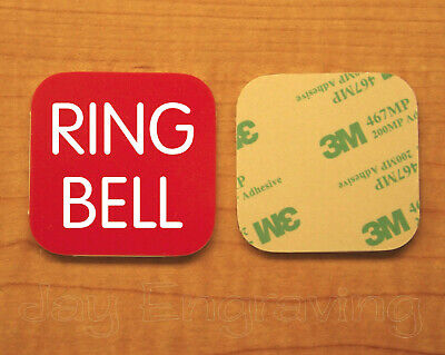 Engraved 2x2 Red RING BELL Plastic Tag Sign Plate | Doorbell Plate Door Plaque