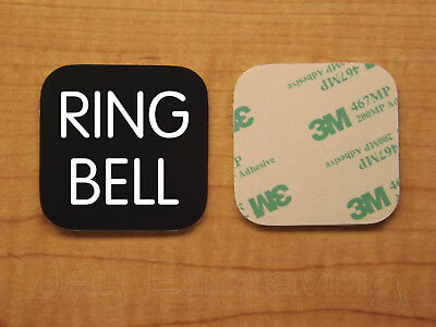 Engraved 3x3 RING BELL Plastic Tag Sign Plate | Black Doorbell Plate Plaque