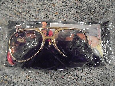 One Pair Of Gold Rock & Roll Sun Glasses With Sideburns Elvis Sunglasses