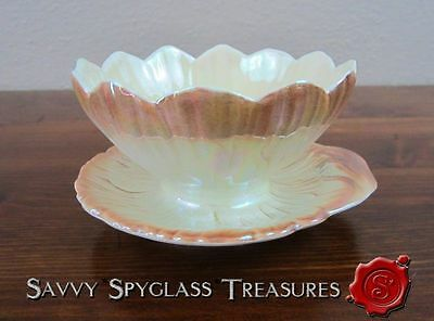 Royal Winton Lustre Figural Lotus Flower Bowl with Underplate Open Sugar