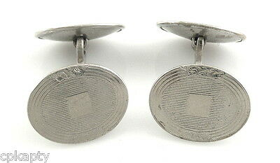 Vintage 1920s 30s BELAIS Art Deco 14K White Gold Engine Turned Etched CUFFLINKS