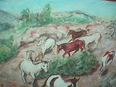 HORSE Painting ROUND About Picture Original ART Artwork FARM S DiNICOLA