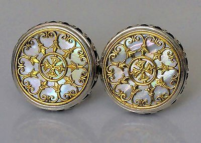 Konstantino Cufflinks Mother of Pearl Large Round Sterling Silver 18K Gold New