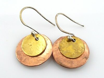 Vintage 1960s 70s Hand Hammered Design Mixed Metals Copper Brass Silver EARRINGS