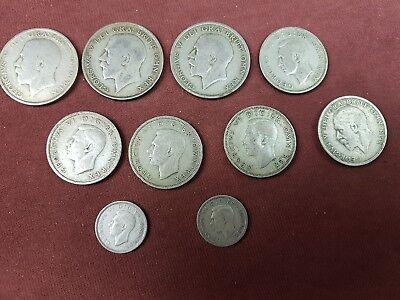 Job lot of pre 47 Silver Coins, 1/2 crowns, Florins etc..102 grams pre 47 Silver