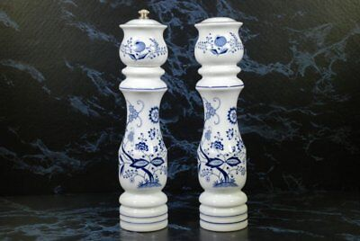 Vintage Blue Danube Blue Onionware Porcelain Tall Salt & Pepper Mill Set