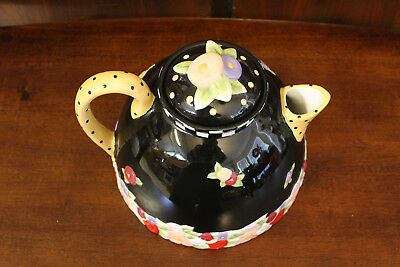 "Mary Engelbreit Large Black Floral Teapot Polka Dot Charpente ME Tea Pot 8"" HTF"