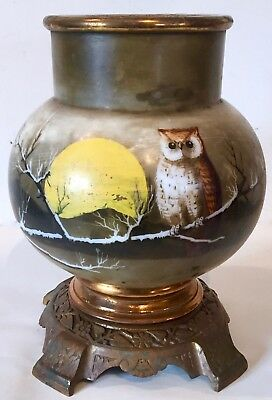 Antique Victorian Hand Painted Owl & Full Moon Lamp Cast Brass Base