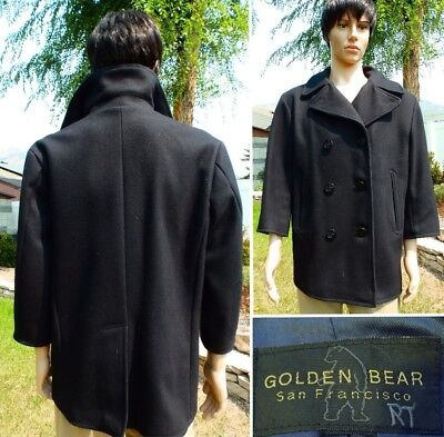 VINTAGE GOLDEN BEAR WOOL PEACOAT heavy black melton made in USA mens small $800