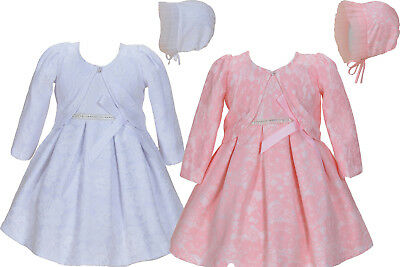 Baby Lace Christening Dress Party Dress Bonnet Jacket 0 3 6 9 12 18 Months