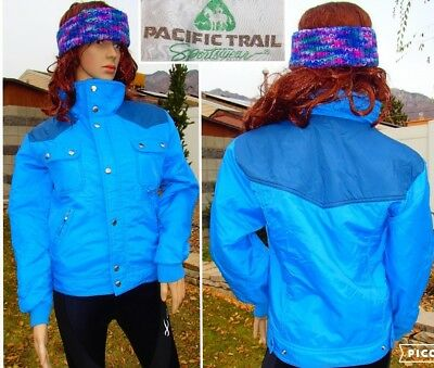 VINTAGE WESTERN SKI JACKET cowgirl knit headband pacific trail blue womens small