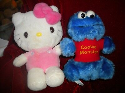 Plush Duo; Happy Birthday Hello Kitty, And The Cookie Monster